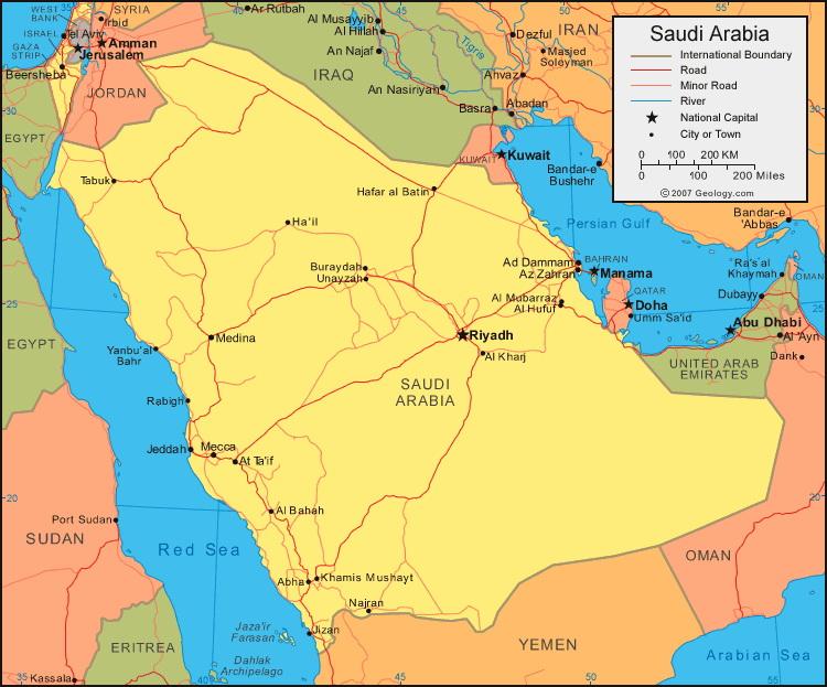 Peta Saudi Arabia